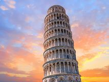 Pisa leaning tower close up detail view at sunset Stock Photography