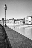 Pisa, Lungarno alleys. Black and white photo stock images