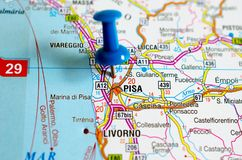 Pisa on map. Close up shot of Pisa on map with blue push pin Royalty Free Stock Photography