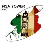Pisa met Vlag royalty-vrije stock afbeeldingen
