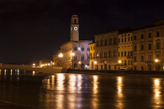 Pisa by night from the river. Royalty Free Stock Images