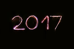 Pisać nowego roku z sparklers Obraz Royalty Free