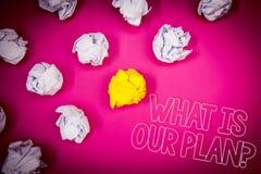 Pisać nutowym seansie Co Jest Nasz planu pytaniem Biznesowa fotografia pokazuje misi Purpose agendy Strategize Brainstorming menc Obrazy Stock