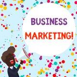 Pisa? nutowym seansu biznesu marketingu Biznesowa fotografia pokazuje produkty i us?uga sprzedaje inni biznesy royalty ilustracja