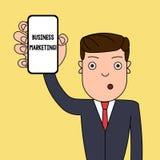 Pisa? nutowym seansu biznesu marketingu Biznesowa fotografia pokazuje produkty i us?uga sprzedaje inni biznesy ilustracji