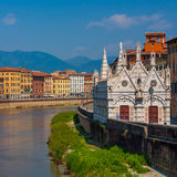 Pisa. Old architecture and river Arno , Pisa, Italy Stock Image