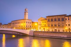 Pisa, Italy. Pisa old City Center and Arno River stock photos