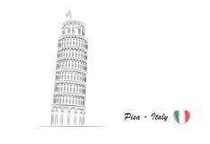 Pisa oparty wierza minimalna ilustracja Fotografia Royalty Free