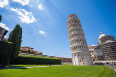Pisa, Piazza del Duomo, with the Basilica leaning tower Stock Photos