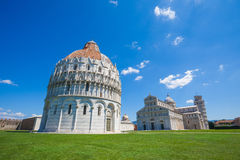 Pisa, Piazza del Duomo with Battistero, Basilica and the leaning Royalty Free Stock Photos