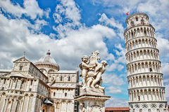 Pisa, place of miracles the leaning tower and the cathedral baptistery, Italy Stock Images