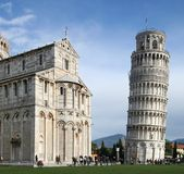 Pisa's leaning tower. Pisa's tower and dome in a sunny day stock photo