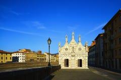 Pisa, Santa Maria della Spina small church, Arno river lungarno Stock Image