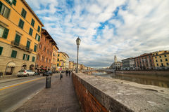 Pisa, September 2012, Tuscany, Italy, Lungarno Antonio Pacinotti  street, View on Arno river Stock Photos