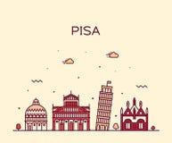 Pisa skyline Italy vector linear style city royalty free illustration