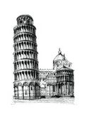 pisa torn royaltyfri illustrationer