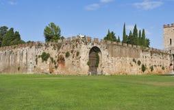Pisa, Toscanië, Italië Nieuwe stadsmuren Stock Foto