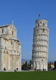 Pisa tower. The Piazza del Duomo (Cathedral Square) is in the city of Pisa, Italy.Here is the famous leaning tower ( the cathedral's bell tower). In 1987 the stock photo