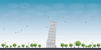 Pisa Tower with blue sky and tourist Stock Photo