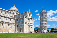 Pisa tower and cathedral on Piazza del Duomo stock photos