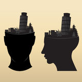 Pisa tower on head. Design icon Royalty Free Stock Image