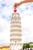 Pisa tower with heart Stock Photos