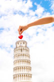 Pisa tower with heart Royalty Free Stock Image