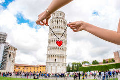 Pisa tower with heart Royalty Free Stock Photography