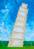 Pisa tower oil painted Royalty Free Stock Photography