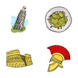Pisa tower, pasta, coliseum, Legionnaire helmet.Italy country set collection icons in cartoon style vector symbol stock Royalty Free Stock Photos