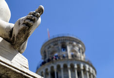 Pisa tower and statue Royalty Free Stock Images