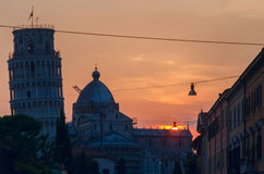 Pisa Tower at sunset Royalty Free Stock Photos