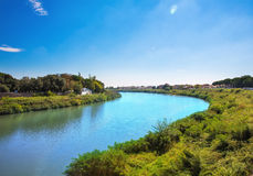 Pisa town, Italy. View from one of Pisa's bridges. Italy Royalty Free Stock Images