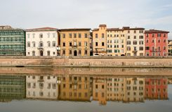 Pisa - Tuscany Houses. Typical Tuscany city landscape on river stock photo