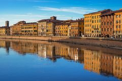 Pisa, Tuscany, Italy: View on the Arno river at the evening time Stock Photo