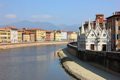 Pisa View with the church Santa Maria della Spina Stock Image