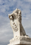Pisa white statue of a lion near Arno river Royalty Free Stock Photography