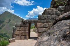 Pisac印加人废墟,神圣的谷,秘鲁 免版税图库摄影