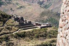 Pisac废墟在秘鲁 库存照片