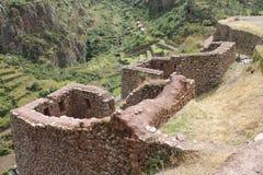 Pisac废墟在秘鲁 免版税库存照片