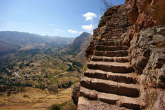 Pisac. Inca steps at pisac peru Royalty Free Stock Photos