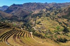 Pisac fördärvar, den sakrala dalen, Peru Royaltyfri Fotografi