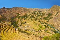 Деревня Pisac и террас inca аграрных. Cusco, Перу стоковые изображения