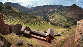 Pisac Inca fördärvar i peruanska Anderna nära Cuzco, Peru Fotografering för Bildbyråer