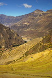 Pisac Inca ruins and agricultural terraces. Sacred Valley, Cuzco Stock Photos