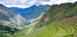 Pisac - Inca ruins in the sacred valley in the Peruvian Andes, Royalty Free Stock Photo