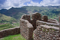 Pisac - Inca ruins in the sacred valley in the Peruvian Andes, Royalty Free Stock Images