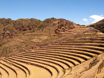 Pisac Inca Site Incan Ruins Peru Terracing Stock Photos