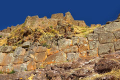 Pisac Inca wall and ruins. Cusco, Peru Royalty Free Stock Photos
