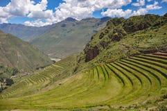 Pisac Incas fördärvar, den sakrala dalen, Peru Arkivfoton